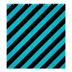 Stripes3 Black Marble & Turquoise Colored Pencil (r) Shower Curtain 66  X 72  (large)