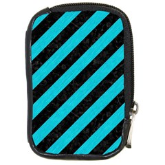 Stripes3 Black Marble & Turquoise Colored Pencil (r) Compact Camera Cases