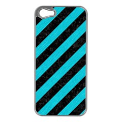 Stripes3 Black Marble & Turquoise Colored Pencil (r) Apple Iphone 5 Case (silver)