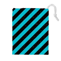 Stripes3 Black Marble & Turquoise Colored Pencil (r) Drawstring Pouches (extra Large)