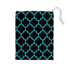 Tile1 Black Marble & Turquoise Colored Pencil (r) Drawstring Pouches (large)
