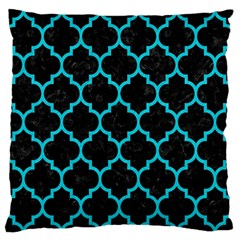 Tile1 Black Marble & Turquoise Colored Pencil (r) Standard Flano Cushion Case (one Side)
