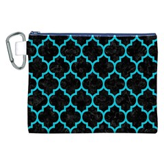 Tile1 Black Marble & Turquoise Colored Pencil (r) Canvas Cosmetic Bag (xxl)