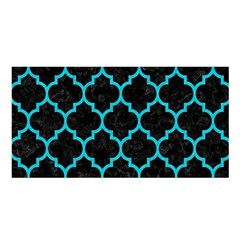 Tile1 Black Marble & Turquoise Colored Pencil (r) Satin Shawl