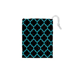 Tile1 Black Marble & Turquoise Colored Pencil (r) Drawstring Pouches (xs)