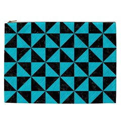Triangle1 Black Marble & Turquoise Colored Pencil Cosmetic Bag (xxl)