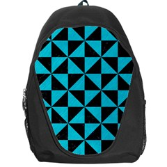 Triangle1 Black Marble & Turquoise Colored Pencil Backpack Bag