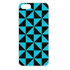 Triangle1 Black Marble & Turquoise Colored Pencil Apple Iphone 5 Seamless Case (white)