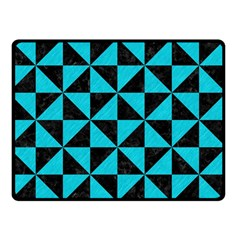 Triangle1 Black Marble & Turquoise Colored Pencil Double Sided Fleece Blanket (small)