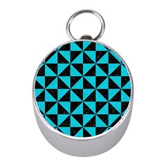 Triangle1 Black Marble & Turquoise Colored Pencil Mini Silver Compasses
