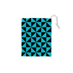 Triangle1 Black Marble & Turquoise Colored Pencil Drawstring Pouches (xs)