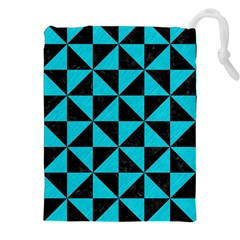 Triangle1 Black Marble & Turquoise Colored Pencil Drawstring Pouches (xxl)