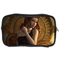 Wonderful Steampunk Women With Clocks And Gears Toiletries Bags 2 Side