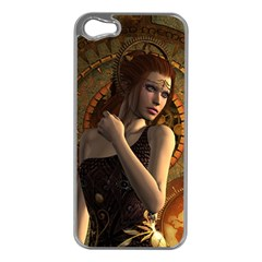 Wonderful Steampunk Women With Clocks And Gears Apple Iphone 5 Case (silver)