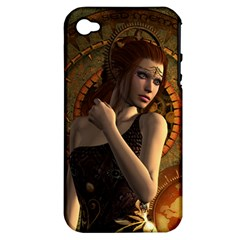 Wonderful Steampunk Women With Clocks And Gears Apple Iphone 4/4s Hardshell Case (pc+silicone)