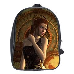 Wonderful Steampunk Women With Clocks And Gears School Bag (xl)