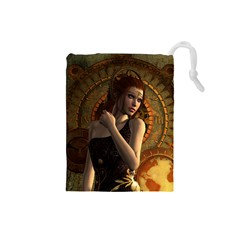 Wonderful Steampunk Women With Clocks And Gears Drawstring Pouches (small)