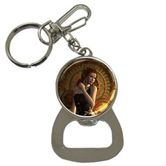 Wonderful Steampunk Women With Clocks And Gears Bottle Opener Key Chains