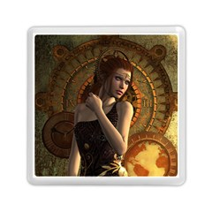 Wonderful Steampunk Women With Clocks And Gears Memory Card Reader (square)