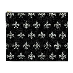 Royal1 Black Marble & Silver Foil Cosmetic Bag (xl)
