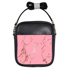 Luxurious Pink Marble Girls Sling Bags