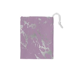 Luxurious Pink Marble Drawstring Pouches (small)