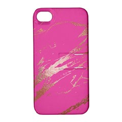 Luxurious Pink Marble Apple Iphone 4/4s Hardshell Case With Stand