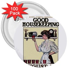 Good Housekeeping 3  Buttons (100 Pack)