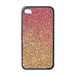 Rose Gold Sparkly Glitter Texture Pattern Apple Iphone 4 Case (black)