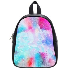 Pink And Purple Galaxy Watercolor Background  School Bag (small)