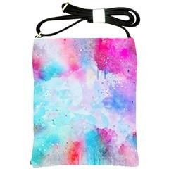 Pink And Purple Galaxy Watercolor Background  Shoulder Sling Bags