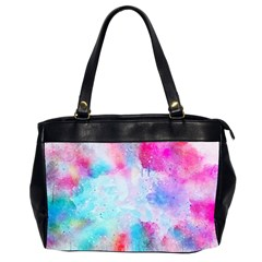 Pink And Purple Galaxy Watercolor Background  Office Handbags (2 Sides)