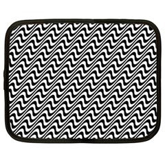 Black And White Waves Illusion Pattern Netbook Case (xxl)