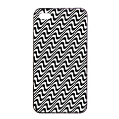 Black And White Waves Illusion Pattern Apple Iphone 4/4s Seamless Case (black)