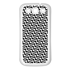 Black And White Waves Illusion Pattern Samsung Galaxy S3 Back Case (white)