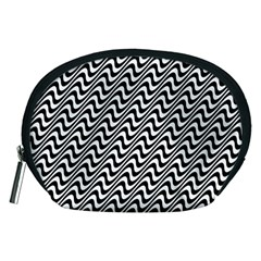 Black And White Waves Illusion Pattern Accessory Pouches (medium)