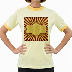 Art Deco Red Women s Fitted Ringer T Shirts