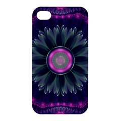 Beautiful Hot Pink And Gray Fractal Anemone Kisses Apple Iphone 4/4s Premium Hardshell Case