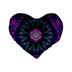 Beautiful Hot Pink And Gray Fractal Anemone Kisses Standard 16  Premium Flano Heart Shape Cushions