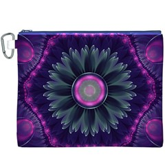 Beautiful Hot Pink And Gray Fractal Anemone Kisses Canvas Cosmetic Bag (xxxl)