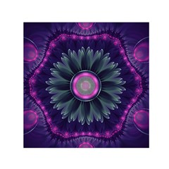 Beautiful Hot Pink And Gray Fractal Anemone Kisses Small Satin Scarf (square)