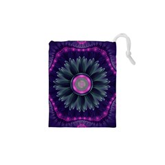 Beautiful Hot Pink And Gray Fractal Anemone Kisses Drawstring Pouches (xs)