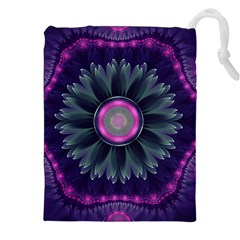 Beautiful Hot Pink And Gray Fractal Anemone Kisses Drawstring Pouches (xxl)
