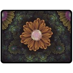 Abloom In Autumn Leaves With Faded Fractal Flowers Fleece Blanket (large)