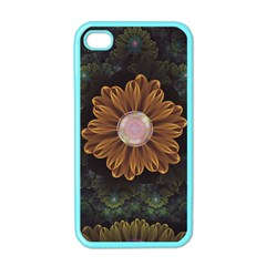 Abloom In Autumn Leaves With Faded Fractal Flowers Apple Iphone 4 Case (color)