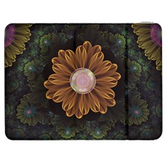Abloom In Autumn Leaves With Faded Fractal Flowers Samsung Galaxy Tab 7  P1000 Flip Case