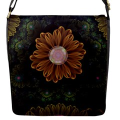 Abloom In Autumn Leaves With Faded Fractal Flowers Flap Messenger Bag (s)