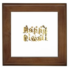 Happy Diwali Gold Golden Stars Star Festival Of Lights Deepavali Typography Framed Tiles
