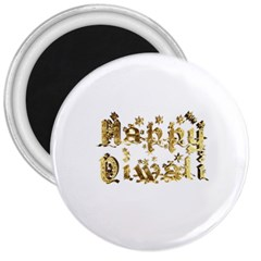 Happy Diwali Gold Golden Stars Star Festival Of Lights Deepavali Typography 3  Magnets