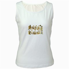 Happy Diwali Gold Golden Stars Star Festival Of Lights Deepavali Typography Women s White Tank Top